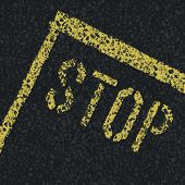 Stop sign on road. Vector