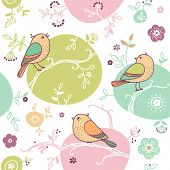 card with seamless floral pattern and birds