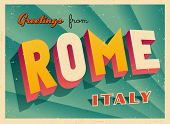 Vintage Touristic Greeting Card - Rome, Italy - Vector EPS10. Grunge effects can be easily removed f