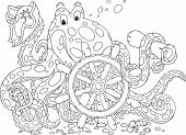 image of color spot black white  - Big spotted octopus with a steering wheel - JPG