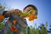 Child observing nature with a magnifying glass