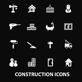 construction, repair services: doors,windows, tools, builder, constructor, crane white isolated icon