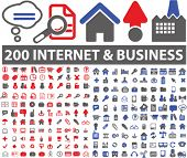 200 icons: design, website, internet, business, industry, documents, objects set, vector
