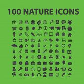 100 internet nature, ecology, weather isolated icons, signs set, vector
