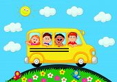 School Bus With Happy Children cartoon