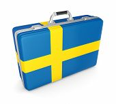 Suitcase with flag of Sweeden.