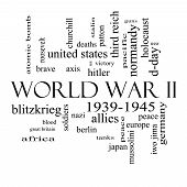 foto of iwo  - World War II Word Cloud Concept in black and white with great terms such as guns axis allies victory and more - JPG
