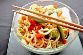 pic of lo mein  - Chicken lo mein in a bowl with chopsticks - JPG