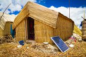 Hut with solar panels, regenerative energy system
