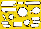 foto of  art  - Set of Pop Art Style Comic Speech Bubbles with cool halftone shading - JPG