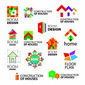 Collection of vector stylized signs of creative construction and renovation of buildings.