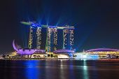 Singapore  Marina Bay Sands Illuminated By Night  Laser Show