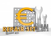 Illustration of a isolated Euro pictogram repair set