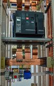 stock photo of busbar  - Copper busbar and protection componets into a distribution panel - JPG