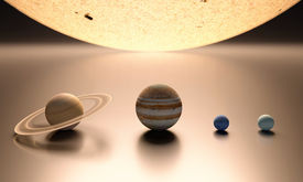 stock photo of uranus  - A rendered comparison of the Sun and the Planets Jupiter Saturn Uranus and Neptune - JPG