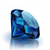 Realistic sapphire on white background with reflection - raster version
