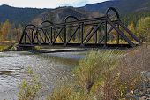 picture of trestle bridge  - An abandoned rail bridge over the Nicola River - JPG