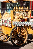 Traditional Polish Smoked Cheese Oscypek On Outdoor Market In Zakopane