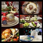 Festive Christmas Formal Dining Table Setting Collage Of Five Images With Roast Turkey, And Dining T