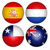stock photo of holland flag  - four balls with flags of the world - JPG