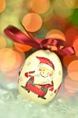 picture of decoupage  - Christmas bauble  made by decoupage technique on bokeh background - JPG