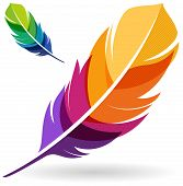 stock photo of light weight  - Vibrant colorful feather designs isolated on whtie background - JPG