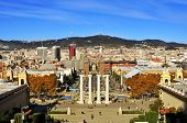 BARCELONA, SPAIN - DECEMBER 1: Aerial view of Barcelona, Spain, from Montjuic Hill on December 1, 2013. There are many important landmarks, such as Font Magica, Plaza de Espana or Las Arenas