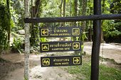 Place signs hanging on signpost; Koh Pha Ngan; Thailand
