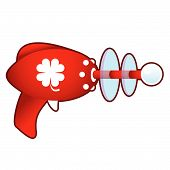 Lucky clover on retro raygun