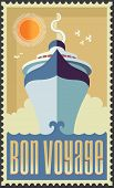 stock photo of passenger ship  - Vintage Retro Cruise Ship Vector Design - JPG