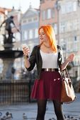 Traveler Woman Red Hair Girl With Smart Phone Old Town Gdansk