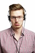 Listening And Worried With Headphones