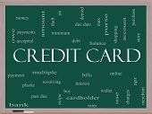 Credit Card Word Cloud Concept On A Blackboard