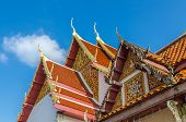 stock photo of gable-roof  - Gable roof on Thai temple in Wat Phra That Cho Hae  - JPG