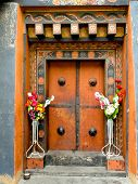 Painted And Decorated Wooden Door In Bhutan