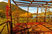 stock photo of pergola  - Pergola on the Lake in the Apennine Mountains Italy - JPG