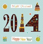 Happy New Yea  Greeting Card.vector