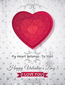 Grey Grunge Background With  Red Valentine Heart And Wishes Text,  Vector