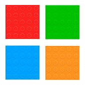 Plastic Constructor Blocks. Seamless Pattern Set