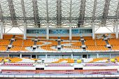 GUANGZHOU, CHINA - Apr.06:HaiXinSha Asian Games Park stadium empty grandstand seat, Apr.06,2013.