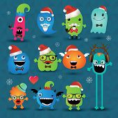 picture of freaky  - Vector Christmas Freaky Hipster Monsters Set Funny Illustration - JPG