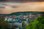 View at the old and beautiful part of Prague - Mala Strana (the Little Quarter) at sunset. Czech republic