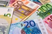 Closeup shot of various euro bank notes