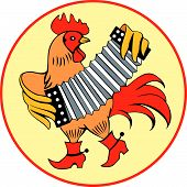 Rooster With Accordian