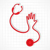 stethoscope make shape of hand