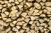 Sawn Wood Piled Perfectly As Backround