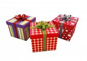 Gifts with ribbons isolated on a light background