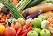 stock photo of fruits vegetables  - different kind of fresh vegetables and fruits - JPG