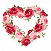 Roses heart frame. Vector illustration.