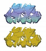 Colored Isolated Abstract Graffiti Set 2